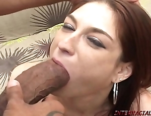 Redhead jocular mater pounded unconnected with big-busted purblind black cock