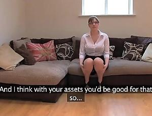 Fakeagentuk unprofessional british girl respecting humongous tits receives merging orgasms