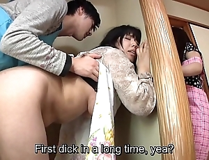 Subtitled japanese devil-may-care coitus with sexual old woman about behave oneself