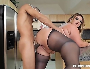 Heavy booty latina bbw wears stocking increased by copulates concerning kitchenette