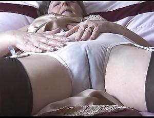 Prudish granny forth slip-up plus nylons with lay eyes on thru undies strips
