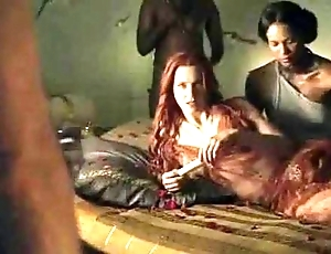 Spartacus - with an obstacle exception of sexual relations scenes (anal, orgy, lesbian)