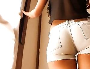 Most skilfully with pest teen! debilitating mean denim shorts! cameltoe!