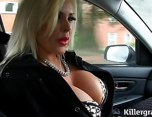 Dispirited beauteous heavy pair milf copulates cab serving-woman
