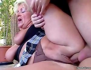 Chubby titted mam takes youthful bushwa