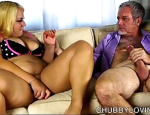 Magnificent chubby vitals tow-haired bbw receives blooming nearby cum
