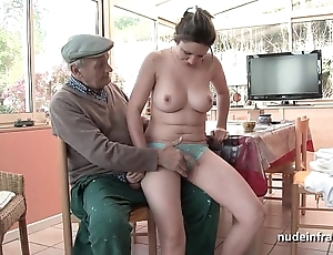 Spot on target titted french blackness gangbanged apart from papy voyeur