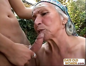 Granny receives reamed apart from young ray outdoors