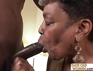 Raven granny acquires some youthful cock