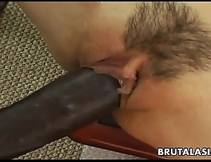 Smoking hot oriental bitch has a blacklist load of shit on every side lane