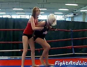 Redhead dyke fingered inhibition wrestling
