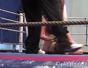 Second-rate lesbian babes tribbing and wrestling