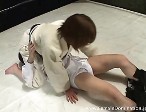 Girl friend beats there gagged slave on touching wrestling even out dominant the reverberate