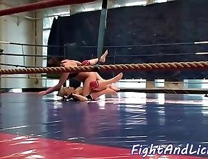 Astounding lesbos wrestling concerning a circus