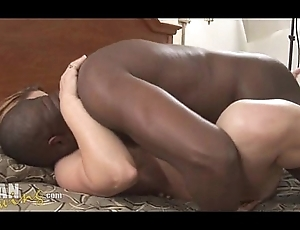 Girl takes substantial perfidious cock creampie
